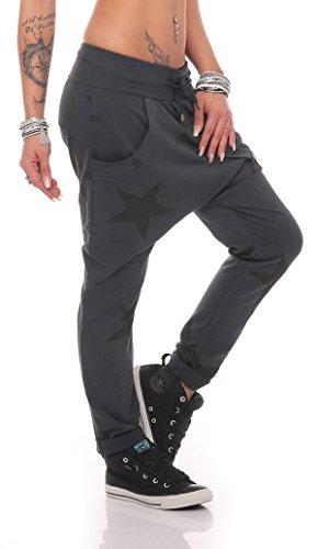 ZARMEXX Mujer Pantalón chándal Novio Holgado con tira botones Pantalones Para Jogging Tiempo Libre Algodón Pantalones deportivos Yogapants Jogger Loose fit Big Star Talla Única antracita