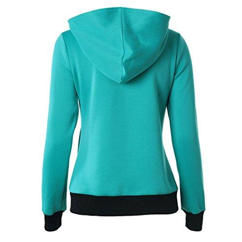 OverDose Mujeres del invierno del otoño de la belleza ocasional de la camiseta de manga larga con capucha Verde