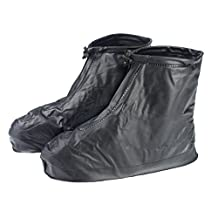 Reusable Black XXXL Waterproof Slip-resistant Thicken Sole Reusable Zippered Shoes Boots Cover For Men Boy