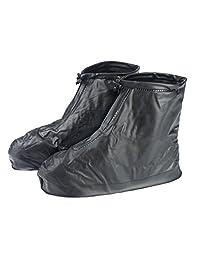 Gardeningwill Reutilizable Negro Impermeable Thicken Antideslizante Suela Reutilizable con Cierre Zapatos Botas Cover para Hombre Boy, Negro, L