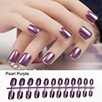 HONGER Fake Nails 24Pcs Artficial Nails Pure Color Fake Nails Art Decoration Short Square Head Full Cover False Nail Art Tips Display Fingernails