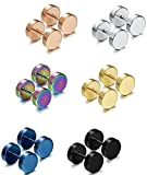 Jstyle Jewelry 3-6 Pairs Stainless Steel Mens Womens Stud Earrings Ear Plugs Tunnel