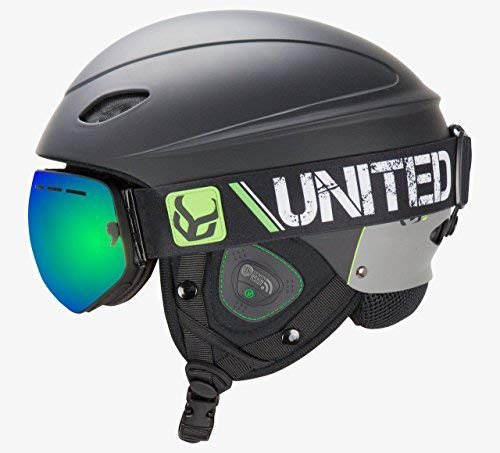 Demon United Phantom Helmet with Audio and Snow Supra Goggle (Black, Large)