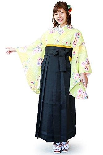 [キョウエツ] 袴セット 二尺袖着物 花和柄 無地袴 3点セット(着物、袴、袴下帯) レディース