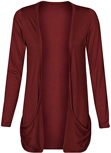 Ladies Boyfriend Cardigan Pockets Burgundy