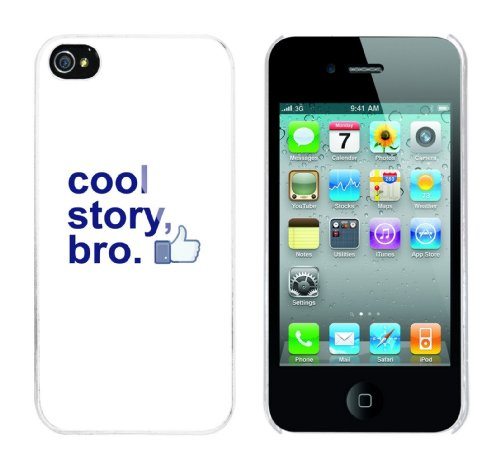 Iphone 4 Case Cool Story Bro - tell it again Daumen hoch Rahmen weiss