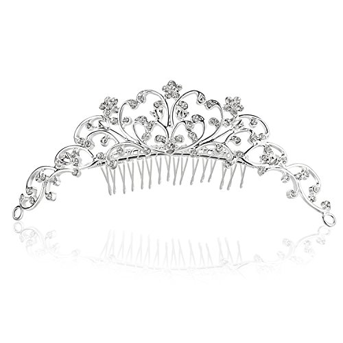 Vine Flower Design Crystal Tiara Comb - Silver Plating Clear Crystal -