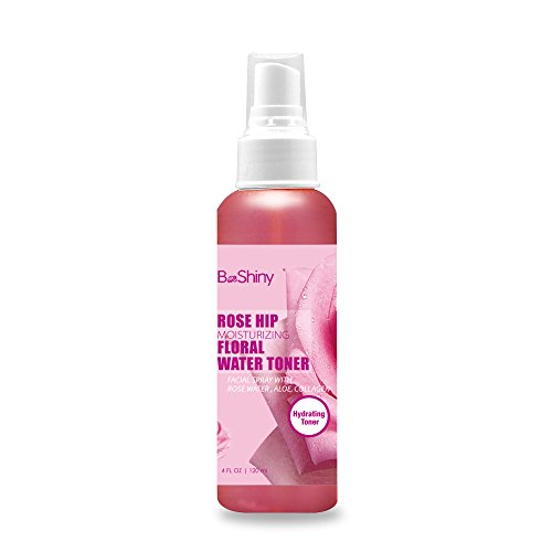 BeShiny Rosehip Moisturizing Floral Water 120ml facial toner spray .Toner for Face Fights blackheads & reduces pore size, Penetrates deep to fight acne at its source (Water Floral Rose)