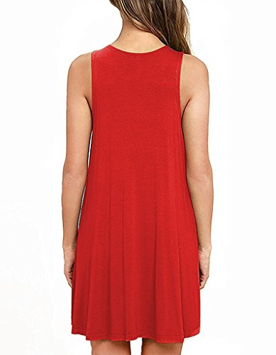 Dresses Bestisun Fall Shirt Swing Casual Women's Sleeveless Pockets Red T 8rwFS8q