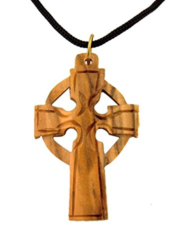 Olive Wood Celtic Cross Pendant on Cord Chain Necklace, 1 1/2 Inch (Wood Celtic Cross)