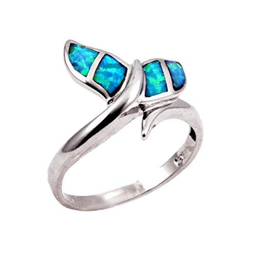 Fishy Whale Tail Ring Lab Created Blue Opal 925 Sterling Silver, Size-8 -