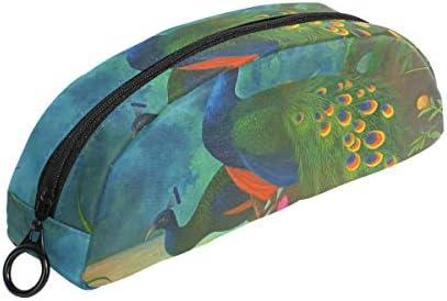 COOSUN - Estuche para lápices de pavo real, semicircular, bolígrafo, bolsa, estuche para maquillaje, neceser para mujeres y niñas: Amazon.es: Oficina y papelería