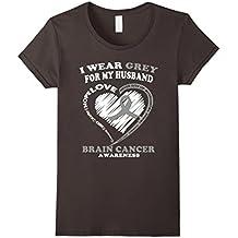Womens Brain Cancer T Shirt - I Wear Grey For My Husband