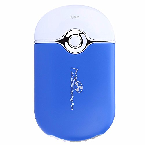 FlyItem USB Mini Portable Fans Rechargeable Electric Bladeless Handheld Air Conditioning Cooling Refrigeration Fan For Eyelash (Blue)