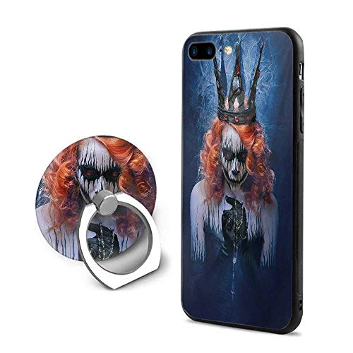 (Queen iPhone 7 Plus/iPhone 8 Plus Cases,Queen of Death Scary Body Art Halloween Evil Face Bizarre Make Up Zombie Navy Blue Orange Black,Mobile Phone Shell Ring)