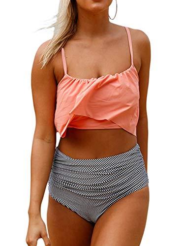 GEEK LIGHTING Women Girls 2 Piece Swimsuits High Waisted Bathing Suits Bikini Set (A-Pink, Medium)