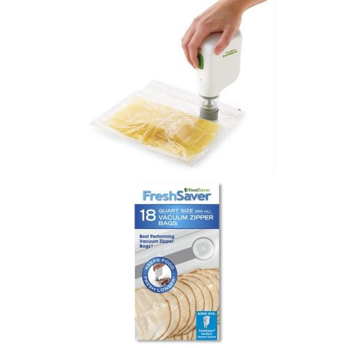 FoodSaver FSFRSH0051 FreshSaver Handheld Vacuum Sealing System and 18 Quart-sized Vacuum Zipper Bags Bundle
