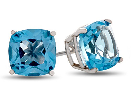 Finejewelers 7x7mm Cushion Swiss Blue Topaz Post-With-Friction-Back Stud Earrings 14 kt White Gold