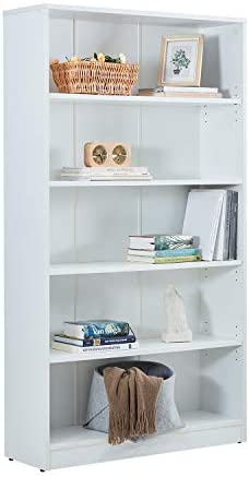 Vicllax Wood 5-Shelf Bookcase Layer Adjustable Mordern Bookshelf