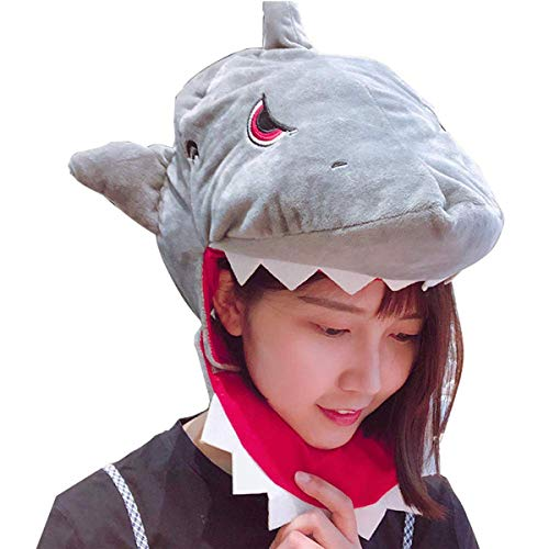HYYER Plush Shark Head Cover Mask Headgear Hood Hat Caps Animal Halloween Novelty Party Dress up Cosplay