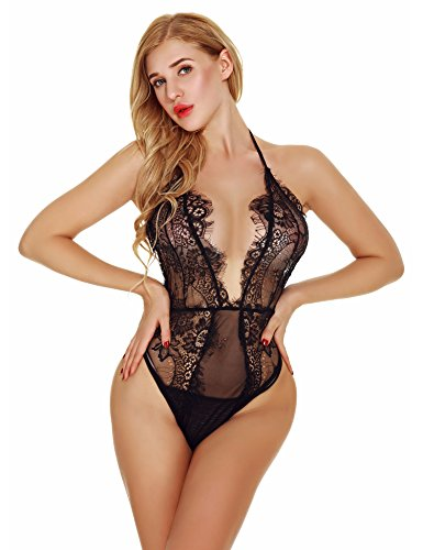 AZEROGO Women's Lingerie One Piece Teddy Bodysuit Deep V Halter Chemise Floral Lace (Lace Baby Doll Teddy)