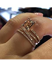 MAIHAO Sparkling Women Fashion 18K Rose Gold Filled Morganite Ring Engagement Bridal Women Jewelry Rings Size 6-10