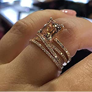 MAIHAO Sparkling Women Fashion 18K Rose Gold Filled Morganite Ring Engagement Bridal Women Jewelry Rings Size 6-10 (US…