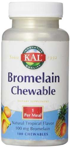 - KAL Bromelain Chewable Tablets, Tropical Flavor, 100 mg, 100 Count by Kal