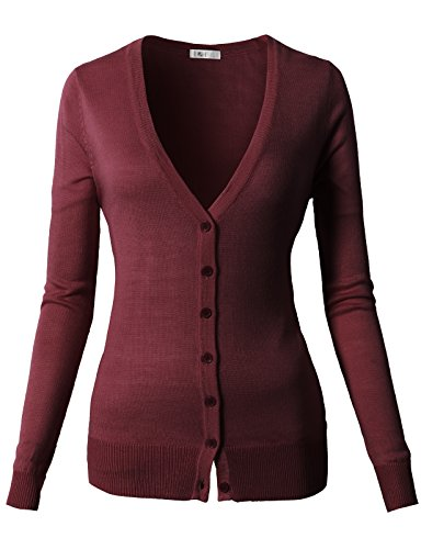 Cardigan V-neck Detail (H2H Women's Regular Fit Long Sleeve Deep V-Neck Cardigan with Button Details Wine US S/Asia S (CWOCAL067))