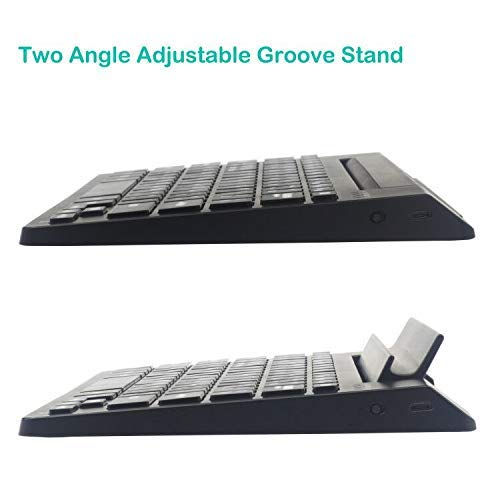 Rechargeable Bluetooth Keyboard with Adjustable Groove Stand Wireless QWERTY Keyboard Full Size Keyboard with Holder for Windows Mac Computers Keyboard Android iOS Tablets Smartphones Keyboard (Black)