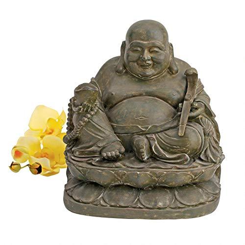 Design Toscano Jolly Hotei Buddha Sanctuary Asian Decor Statue, 13 Inch, Polyresin, Bronze Verdigris Finish