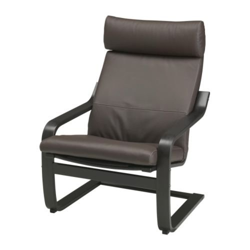 Ikea Poang Armchair Black-brown with Robust Dark Brown Leather Cushion, Frame and Cover