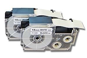 vhbw 2 x Casete de cinta cartucho 18mm para Casio KL-8100, KL-820, KL-8200, KL-C500, KL-P1000 por Casio XR-18WE1, XR-18WE.