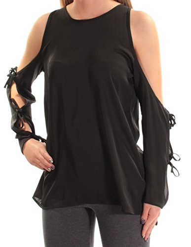 L'Academie Womens Tie Sleeves Cold Shoulder Blouse Black L