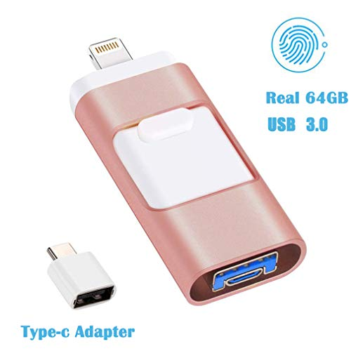 iPhone Flash Drive 64GB,USB 3.0 Photo Stick USB Flash Drive for iPhone Photostick Mobile Picture Backup Lightning Memory Stick External Storage Jump Drive Thumb Drive for iPhone iPad/PC/Android 64GB