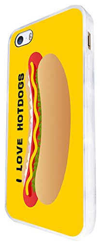 1459 - Cool Fun Trendy I Love Hotdogs Take Away Junk Food Funny Design iphone SE - 2016 Coque Fashion Trend Case Coque Protection Cover plastique et métal - Blanc