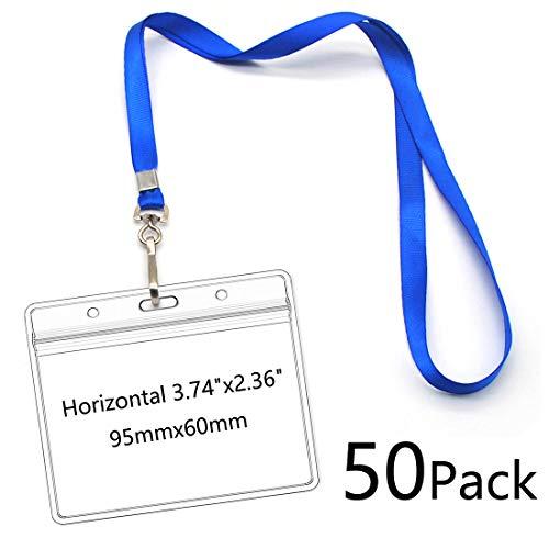 Waterproof Name tag Badge Holders with Neck Lanyard Swivel J-Hook Clip 50 Pack (Horizontal 95x60mm) ()