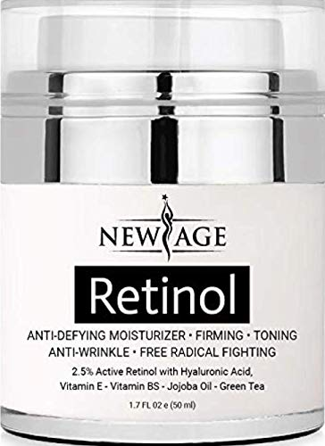 41LWNKTWSXL - (2 Pack) New Age Retinol Cream Moisturizer Serum with Hyaluronic Acid, Vitamin E - Anti Aging Formula Reduces Wrinkles, Fine Lines-Day and Night Cream 1.7 Fl Oz