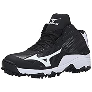 Mizuno Men's 9 Spike ADV Erupt 3 Mid Softball Cleat, Black/White, 12 M US