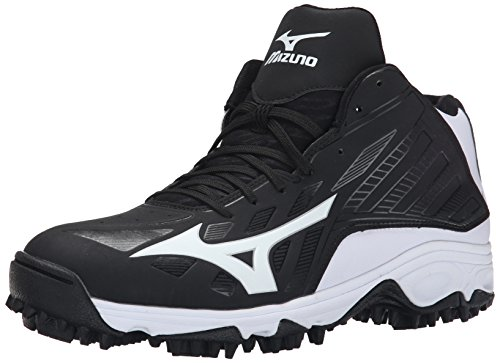 Mizuno Men's 9 Spike ADV Erupt 3 Mid Softball Cleat, Black/White, 9 M US