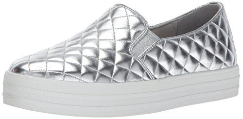 on Slip Silver Damen Double Silber Duvet Skechers up Sneaker qXvwHa