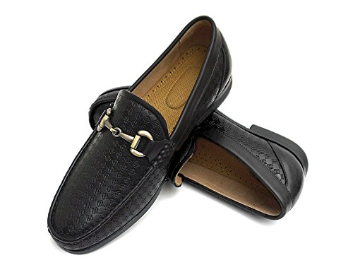Easy Strider EasyStrider Men's Loafer Shoes – Elegant Silver Metal Buckle - Perfect Business Dress Shoe For Men or Casual Slip-On Loafer For Daily Wear - - Black And Gucci Gold