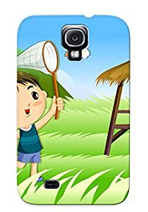Quality Improviselike Case Cover With Kids Catching A Dragonfly Nice Appearance Compatible With Galaxy S4()