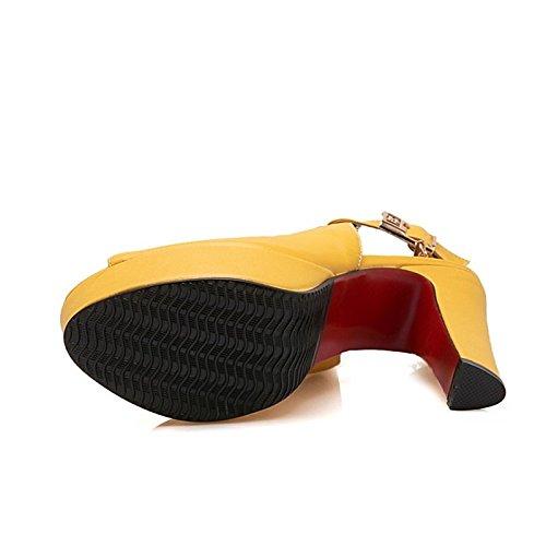 Amarillo de Toe sandalias Talón Gladiador Verano Chunky Yellow Peep Negro hebilla Zapatos noche Toe carreras Blanco Office abierto para ZHZNVX PU de Partido mujer B5qXOxfcw