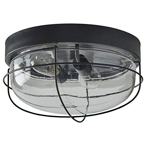 Stone & Beam Industrial Cage Flush Mount Indoor Ceiling Fixture With 2 Light Bulbs - 14 Inch, Oil-Rubbed Bronze