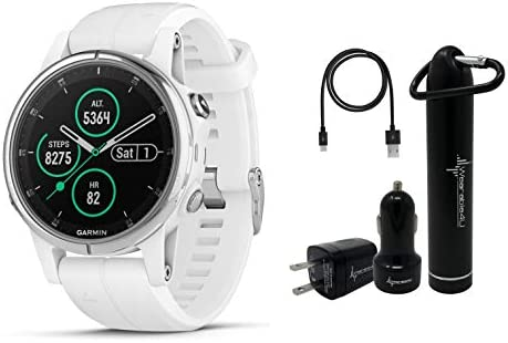 Garmin Fenix 5S Plus Premium Multisport GPS Watch with Maps, Music and Contactless Payments and Wearable4U Ultimate Power Pack Bundle Sapphire White with White Band