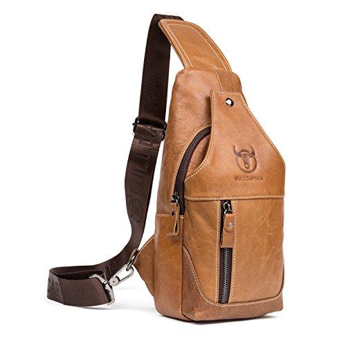 Bull Captain Men Sling Bag Cow Leather Vintage Shoulder Backpack Cross Body Chest Bag for Men with Headphone Hole New019 (Brown)