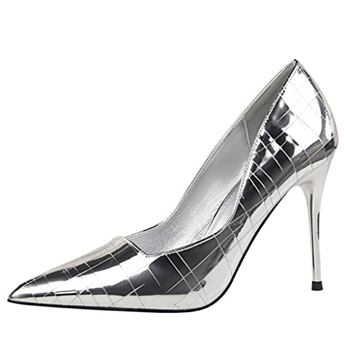 Binying Women's Pointed Toe Shallow Mouth Stone Pattern High-Heel Stiletto Pumps Silver 9Mle97r