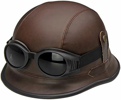 XINGZHE ヘルメットABS高性能高性能保護ヘルメットドイツスタイルレザーヘルメット屋外運動男性と女性平均コードユニバーサル2色 安全ヘルメット (Color : A)