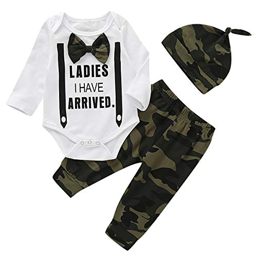 puseky pasgeboren baby jongens gentleman strik outfits letters lange mouw romper pant hoed kleding set